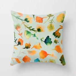 jolies fleurs in mint Throw Pillow