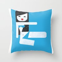 bikini Throw Pillows featuring Bikini (06) by Marco Recuero