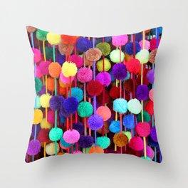 Rainbow Pom-poms (Vertical) Throw Pillow