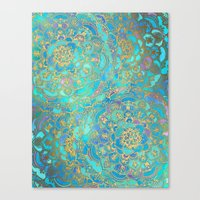 duvet Canvas Prints featuring Sapphire & Jade Stained Glass Mandalas by micklyn