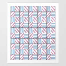 symetric tartan and gingham 6 -vichy, gingham,strip,square,geometric, sober,tartan Art Print