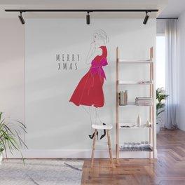 Merry Xmas Fashion Party Girl Wall Mural