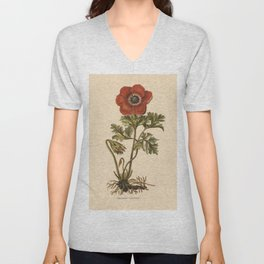 1800s Encyclopedia Lithograph of Anemone Flower Unisex V-Neck