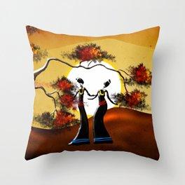 Africa retro vintage style design illustration Throw Pillow