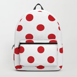 Polka Dots - Fire Engine Red on White Backpack