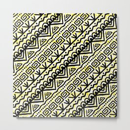 African Pattern Black and Yellow Metal Print