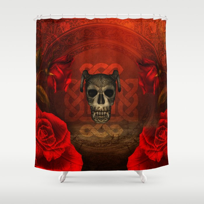 Creepy Skull With Roses Shower Curtain