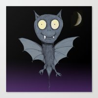 bat Canvas Prints featuring Bat by Bwiselizzy