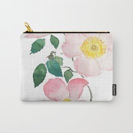 pink rosa rubiginosa watercolor Carry-All Pouch