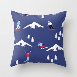 Skiers Throw Pillow