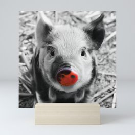 BW splash sweet piglet Mini Art Print