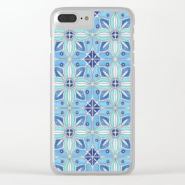 Indian Lotus Flowers Tile in Blue Clear iPhone Case