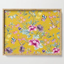 Yellow Chinoiserie Asian Floral Print Serving Tray