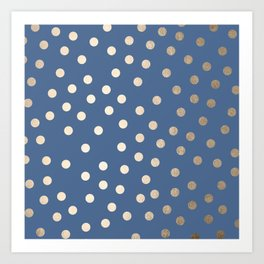 Simply Dots White Gold Sands on Aegean Blue Art Print