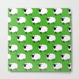 Flock of Cartoon Sheep Metal Print