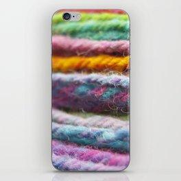 Close up of Colorful Handspun Yarn iPhone Skin