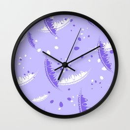 Pattern of cute leaves and petals of garden plants in eggplant tones. Wall Clock