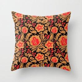 Khokhloma Kulture Pattern Throw Pillow