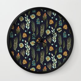 Plants Pattern Branches Leaves Green Navy Floral Watercolor Wall Clock
