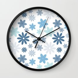 Pretty Flowers - Light Teal Wall Clock