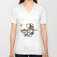 marine V-neck T-shirts featuring Marine by Andre auguste-charlery