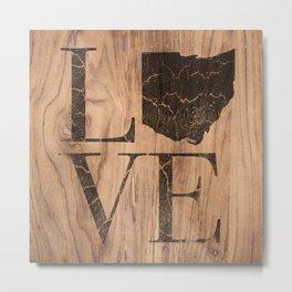 Ohio Map Home Love Vintage Wood Sign Metal Print