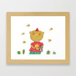 Honey Bear, Busy Bees Framed Art Print