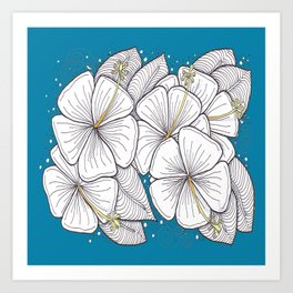 Zentangle Blue and Gold Hibiscus Blossoms for Flower Lovers Art Print