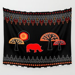 African Rhino (Hot colors) Wall Tapestry