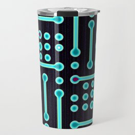 Geometric Cyan Circuit Travel Mug