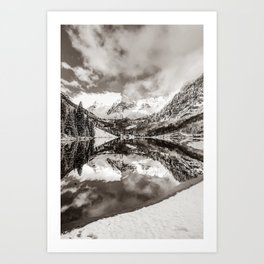 Maroon Bells Colorado Winter Landscape in Sepia Art Print