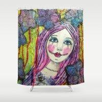 goth Shower Curtains featuring Goth Girl by Krazy Island Studios