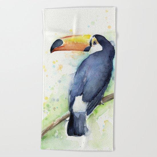 Toucan Tropical Bird Watercolor Beach Towel