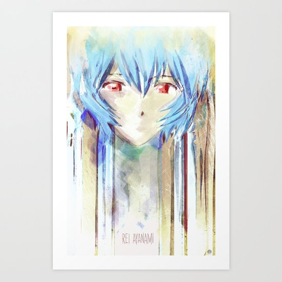 Rei Ayanami from Evangelion Digital Mixed Media Art Print