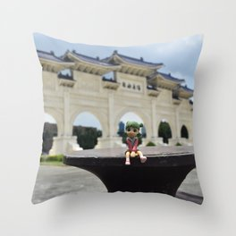 Traveling Figurine Throw Pillow