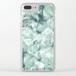 Marble Mist Green Grey Clear iPhone Case