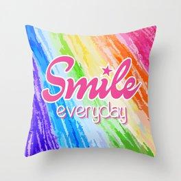 Smile Everyday, Crayon Colors, Kids Crayon, color splash, Throw Pillow