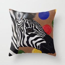 Zebra and Bubbles Throw Pillow