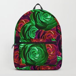 closeup rose pattern texture abstract background in red and green Backpack