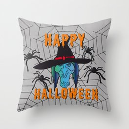 turquoise Witch Happy Halloween Throw Pillow