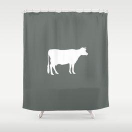 Cow: Dark Grey Shower Curtain