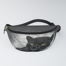 Black panther on a branch - Grey Fanny Pack