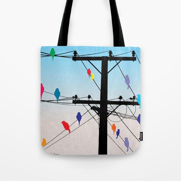 birds blue Tote Bag