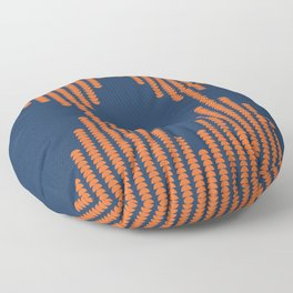 Moon Phases Pattern in Navy Blue and Burnt Orange Floor Pillow