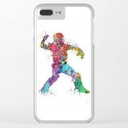 Baseball Softball Catcher 3 Art Sports Poster Clear iPhone Case