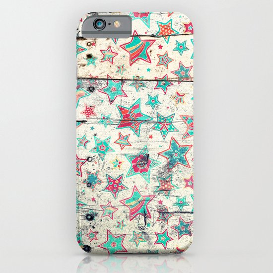 Grunge Stars on Shabby Chic White Painted Wood iPhone & iPod Case