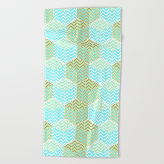 Cubes in teal and golden chevron Beach Towel