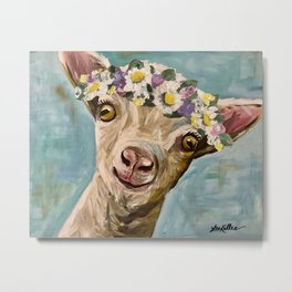 Flower Crown Goat, Farm Animal Painting Metal Print