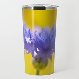 Only One - Blue Cornflower Yellow Bokeh Background #decor #society6 #buyart Travel Mug