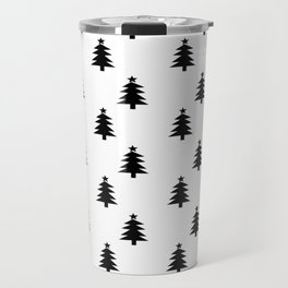 Black and White Christmas Trees Travel Mug